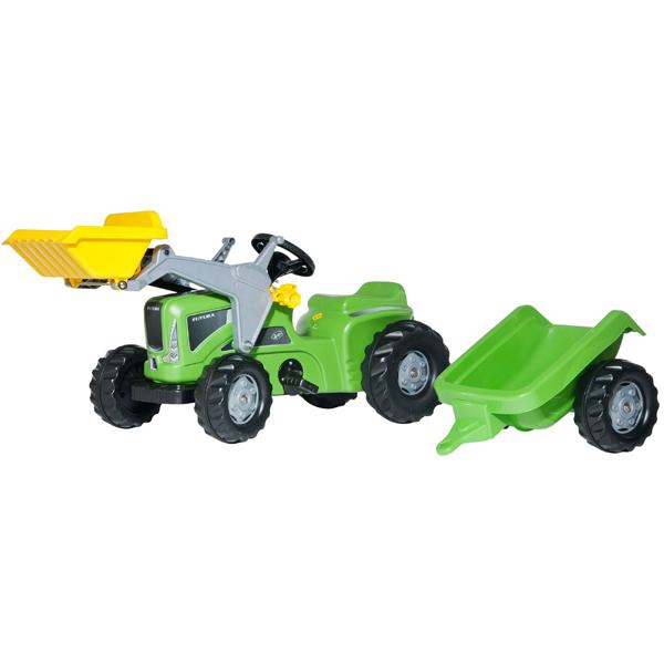 Traktor na pedale Rolly Toys RollyKiddy Futura sa prikolicom i utovarivačem zeleni 630035 - ODDO igračke