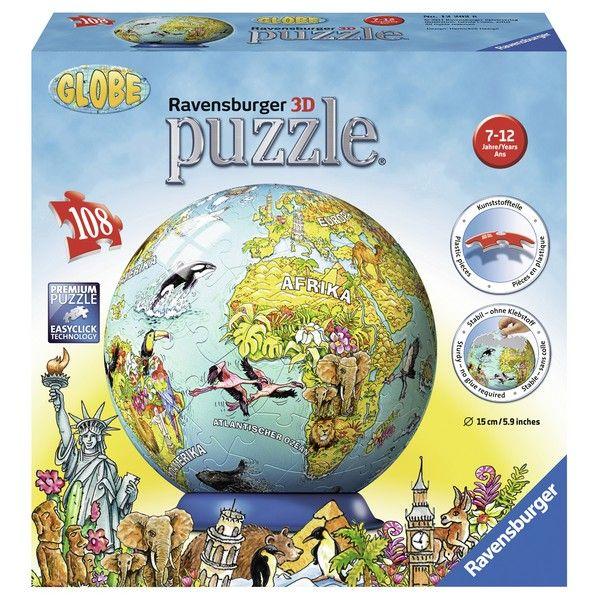 Ravensburger 3D puzzle (slagalice) -  Globus sa ilustracijom zivotinja RA12202 - ODDO igračke