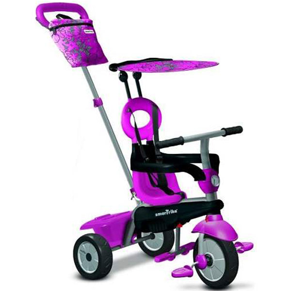 Tricikl sa ručkom i tendom Smart Trike Vanilla 4u1 Pink 6652200 - ODDO igračke