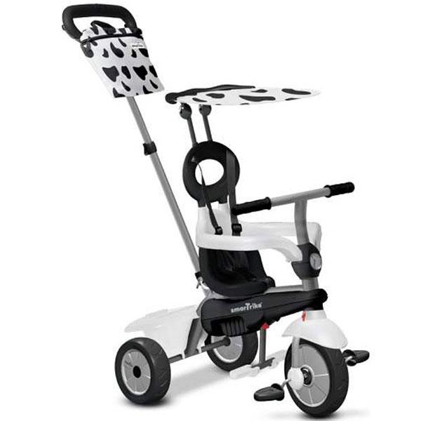 Tricikl sa ru�kom i tendom Smart Trike Vanilla 4u1 Crno/Beli 6652400 - ODDO igra�ke