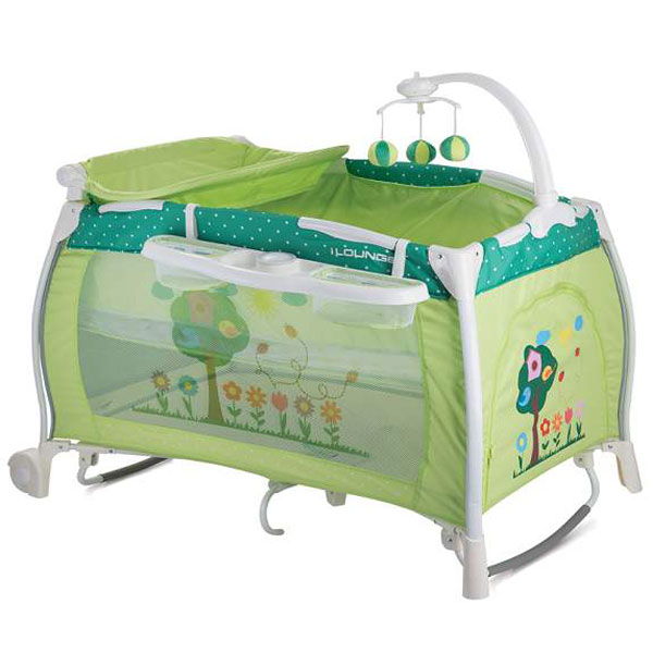 Prenosivi Krevetac iLounge 2 Nivoa Rocker Green Garden 10080021708 - ODDO igračke