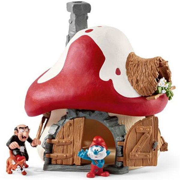 Schleich Štrumfova kućica sa figurama Velikim Štrumfom I Gargamelom i Azraelom 20803 - ODDO igračke