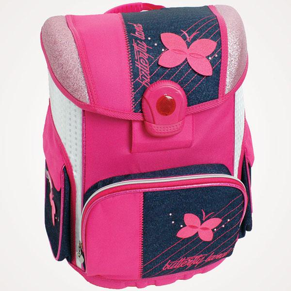 Đačka anatomska torba Butterfly Land 15.Connect jeans/roze 305625 - ODDO igračke