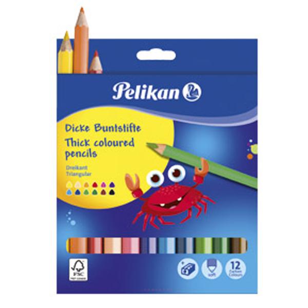 Boje drvene jumbo 12boja+rezač Pelikan 700160 blister - ODDO igračke