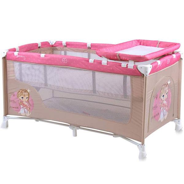 Prenosivi Krevetac Baby Nanny 2 Nivoa Beige&Rose Princess 10080191703 - ODDO igračke