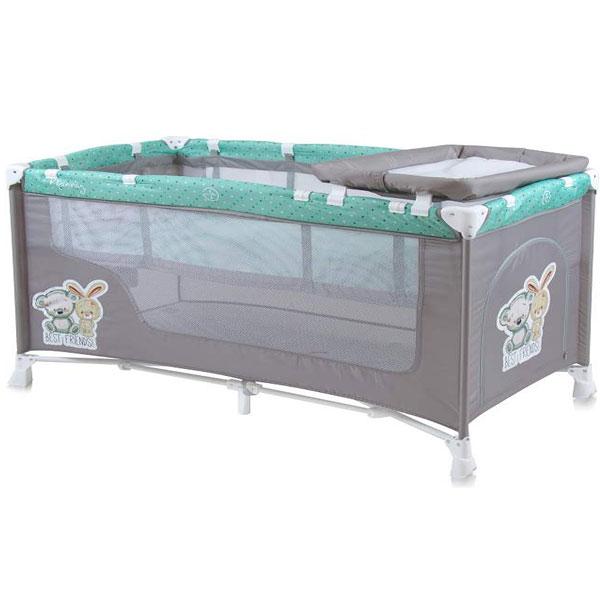 Prenosivi Krevetac Baby Nanny 2 Nivoa Grey & Green Friends 10080191704 - ODDO igračke