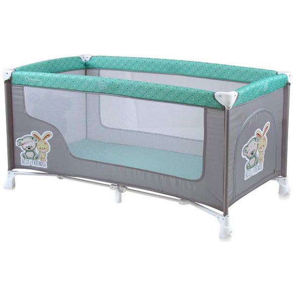 Prenosivi Krevetac Nanny 1 Nivo Grey & Green Best Friends 10080181704 - ODDO igračke