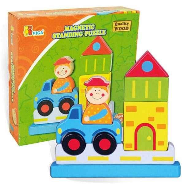 Viga Drvena slagalica magnetna Grad 59703 7709 - ODDO igračke