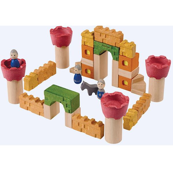 PlanToys Drvene kocke blokovi - 35 komada Zamak 5651 - ODDO igračke