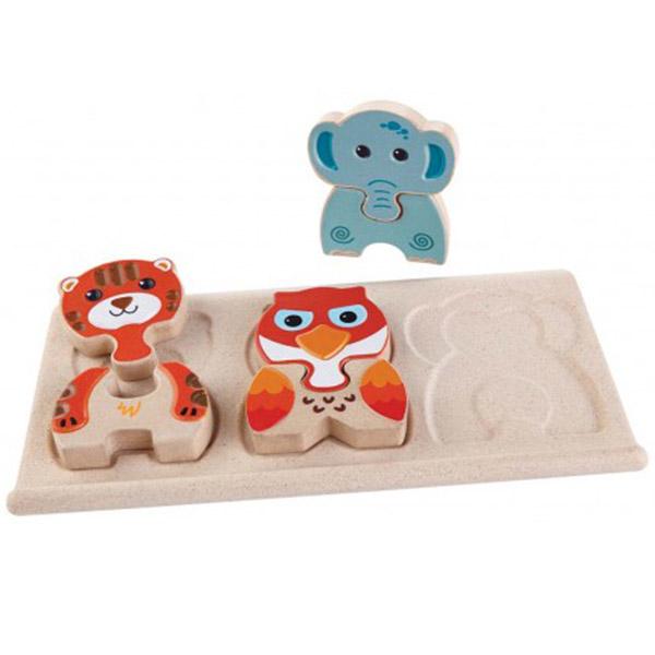 PlanToys Puzzle u oblicima životinja na tabli (6 različitih životinja) 5611 - ODDO igračke