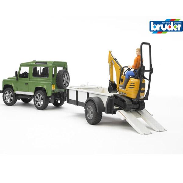 Džip land rover sa prikolicom i JCB mini i figurom Bruder 025939 - ODDO igračke
