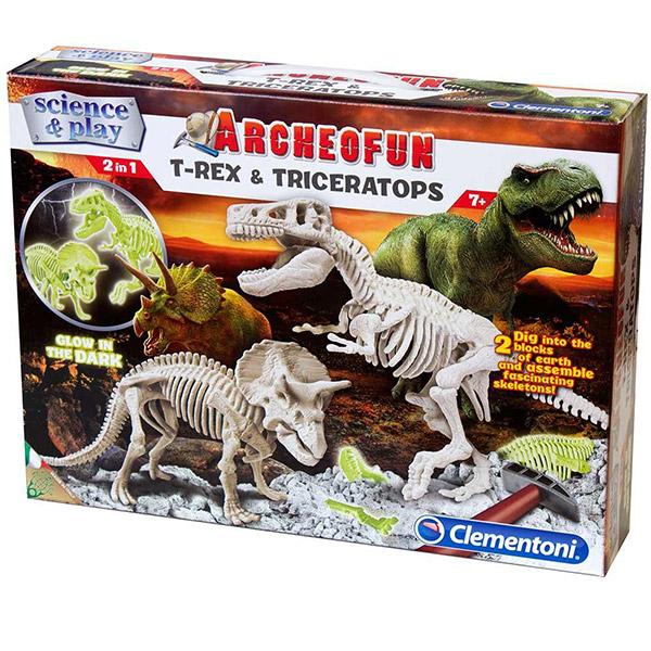 Clementoni Science Archeofun T-Rex And Triceratops CL61245 - ODDO igračke