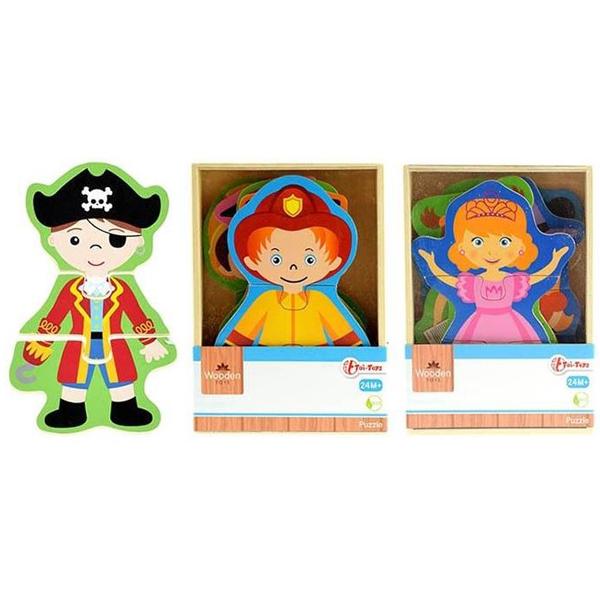 WoodenToy Drvene puzzle obuci lutku 3ass 17.5x12.5x4cm 82508 - ODDO igračke