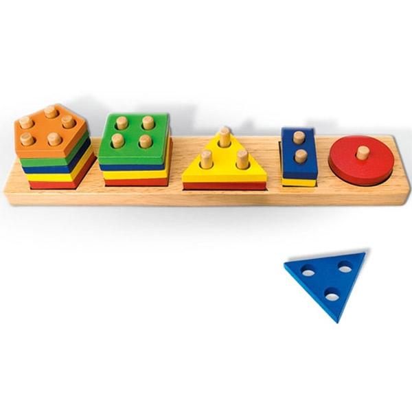 Viga Drvena Umetaljka sa Geometrijskim Oblicima 58558E 3711 - ODDO igračke