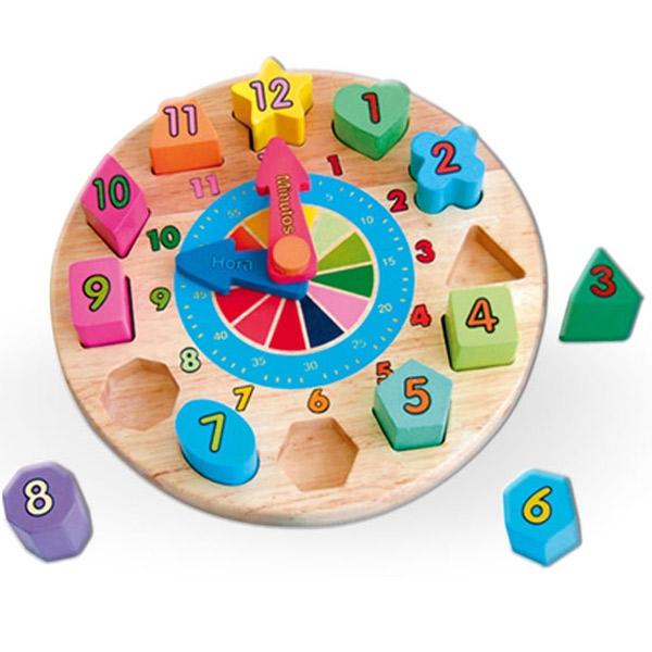 Viga Drveni Sat Umetaljka sa oblicima 59235 5371 - ODDO igračke