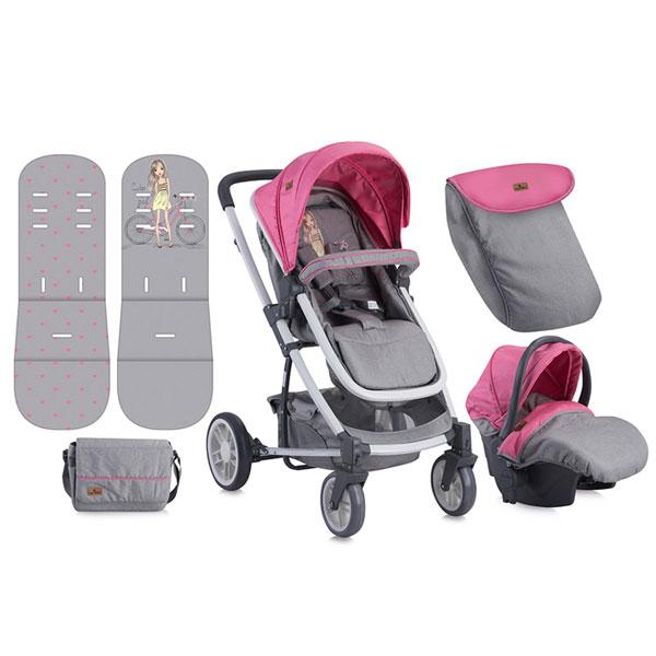 Kolica Lorelli S-500 Set Rose&Grey Girl 10020851740 - ODDO igračke