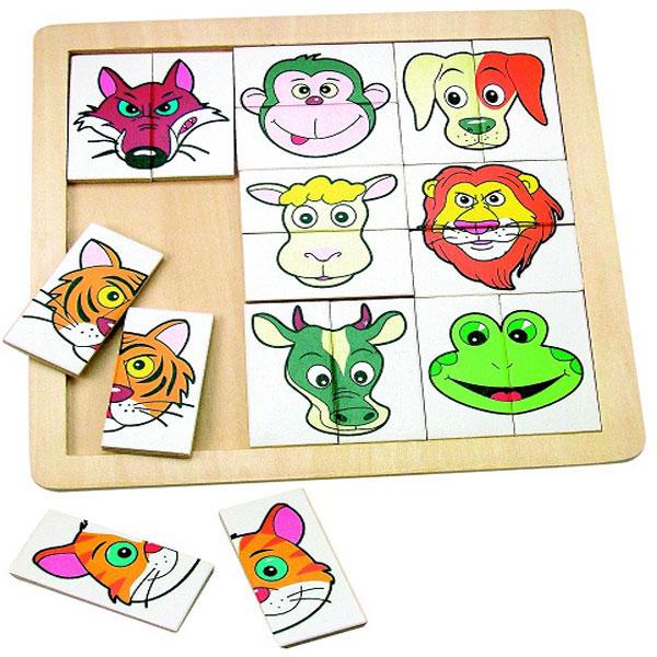 Drvene Puzzle sa glavama životinja Woody 90312 - ODDO igračke