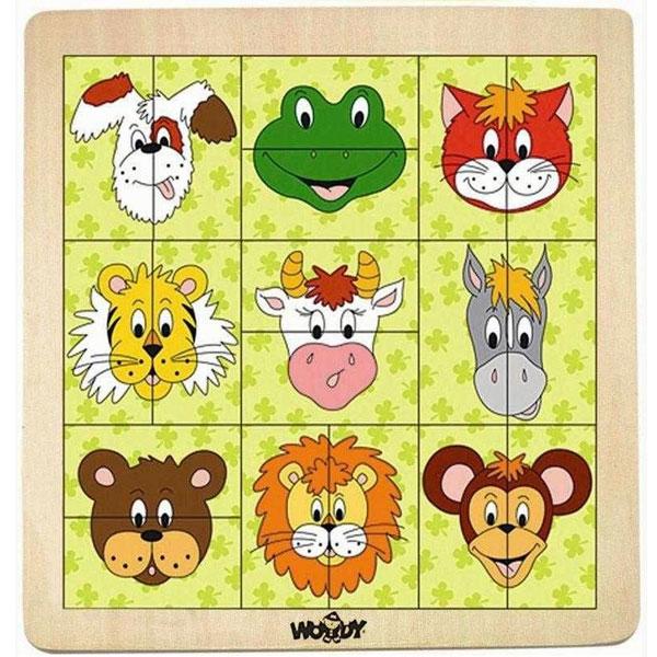 Drvene Puzzle Glave životinja Woody 91104 - ODDO igračke
