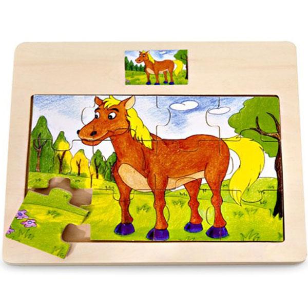 Drvena Puzzla Konjić 12 elemenata 4102-1 - ODDO igračke