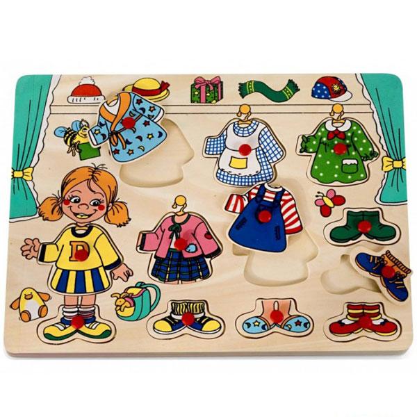 Drvena slagalica Umetaljka Obuci Devojčicu 4479A1 - ODDO igračke
