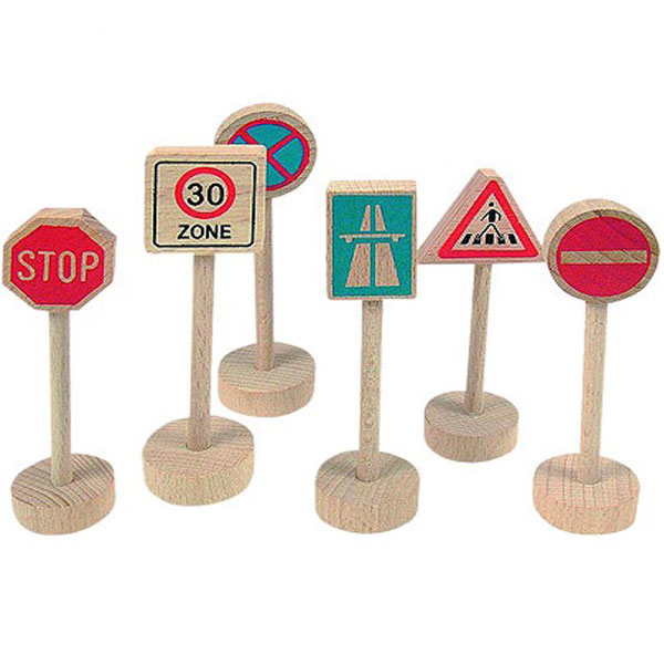 Sobraćajni znaci, 6 komada Woody 90575 - ODDO igračke