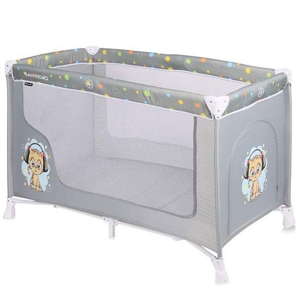 Prenosivi Krevetac San Remo 1 Nivo Grey Cute Kitten 10080011805 - ODDO igračke