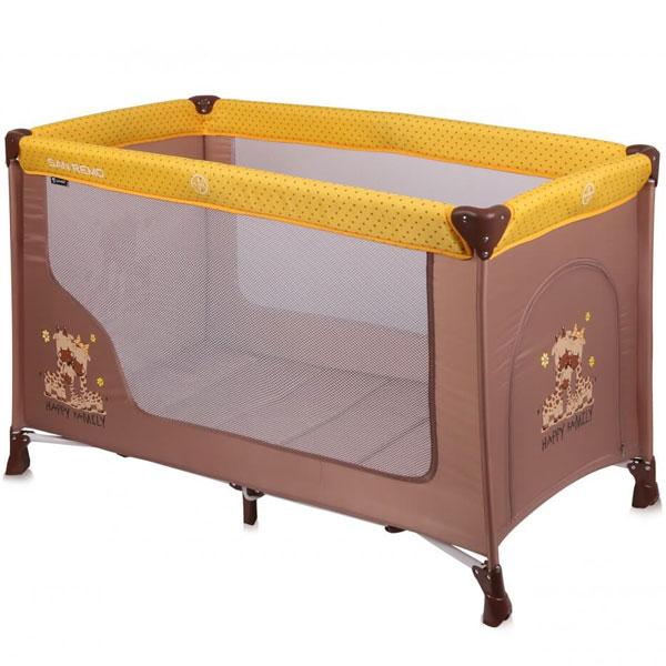 Prenosivi Krevetac San Remo 1 Nivo Beige&Yellow Happy 10080011803 - ODDO igračke