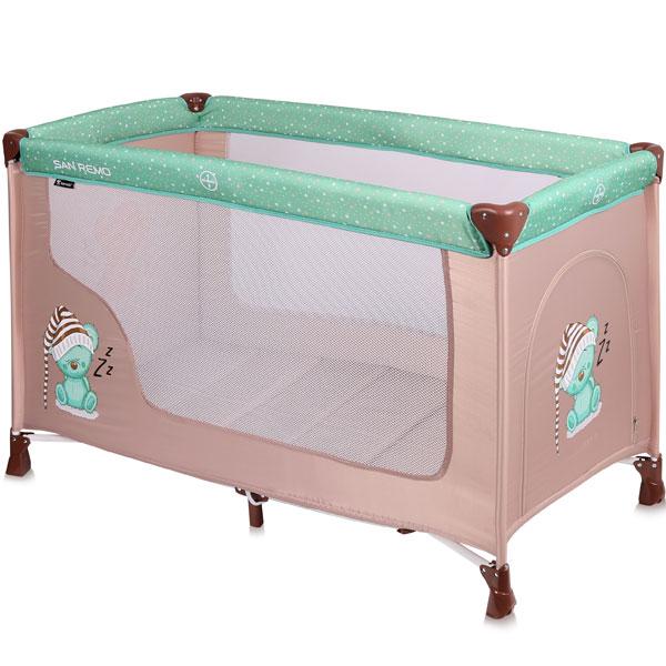Prenosivi Krevetac San Remo 1 Nivo Beige&Green Sleeping 10080011802 - ODDO igračke