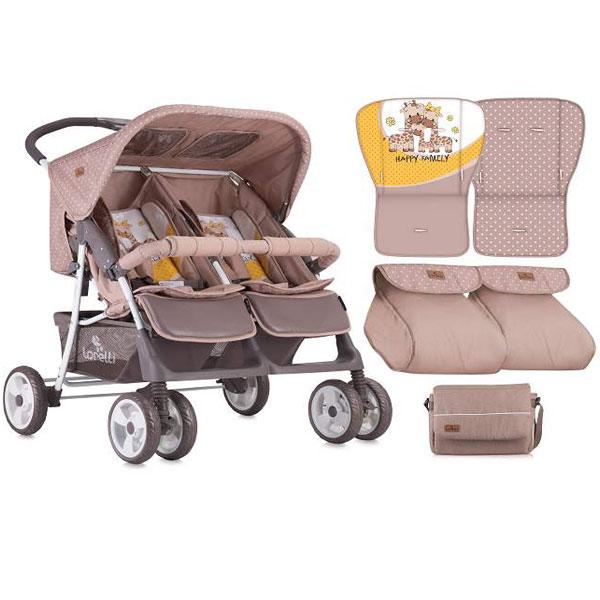 Kolica za Blizance Twin Beige&Yellow Happy Family 10020071803 - ODDO igračke