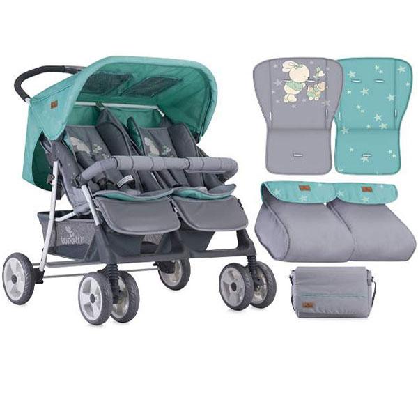 Kolica za Blizance Twin Grey Green Bunnies 10020071837 - ODDO igračke