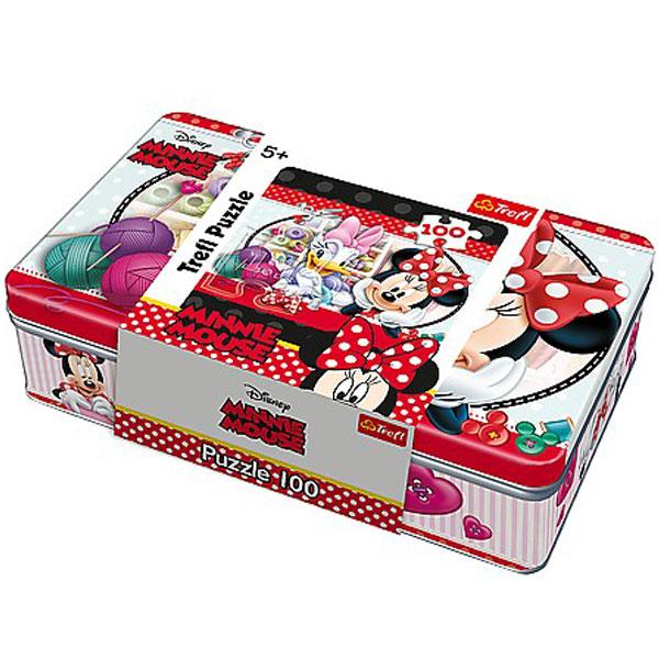 Trefl puzzla u metalnoj kutiji Minnie craft club, Disney Minnie 100pcs 53012 - ODDO igračke
