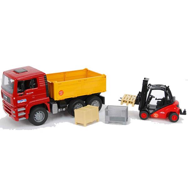 Kamion Bruder MAN TGA kiper  sa Linde viljuškarom 017958 - ODDO igračke
