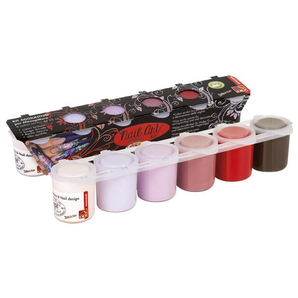 Boja akrilna 25ml 6 boja za dekoraciju noktiju roze i crvena CMP 436NA6I - ODDO igračke