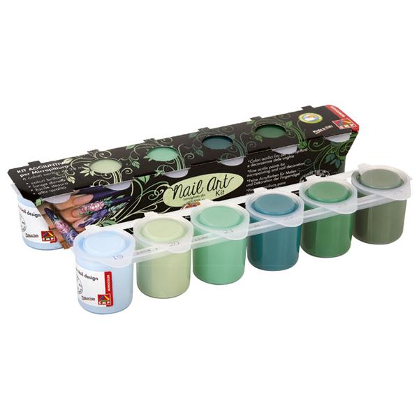 Boja akrilna 25ml 6boja za dekoraciju noktiju zelene CMP 433NA6P - ODDO igračke