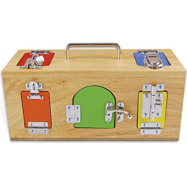 Drvena kutija sa bravama i katancima Montesori HTS0024 - ODDO igračke