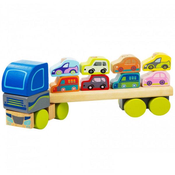 Cubika Drveni Kamion sa autićima (12 elemenata) 13418 - ODDO igračke