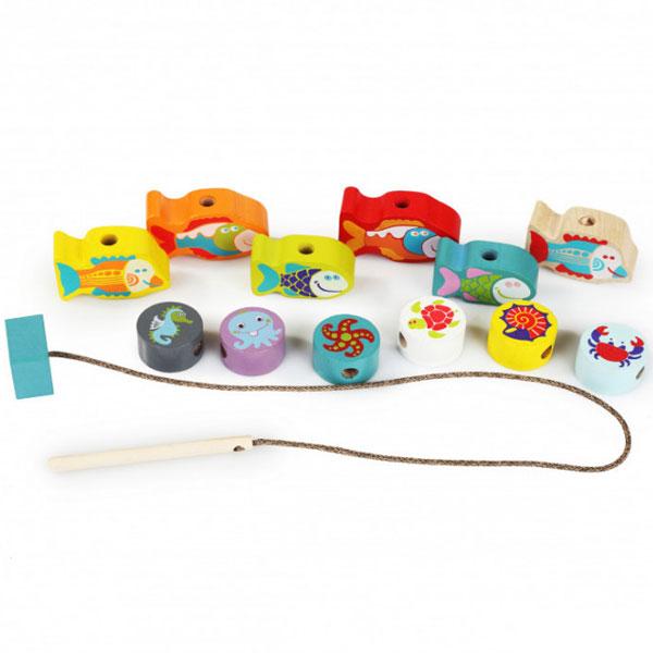 Cubika Drvena igračka nizanje perli RIBICE (13 elemenata) 13647 - ODDO igračke