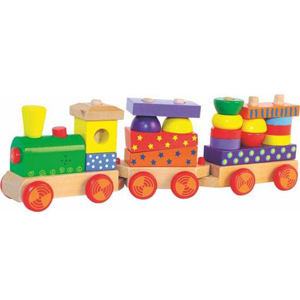 Woody Drveni Vozić kocke za slaganje sa zvukom 90840 - ODDO igračke