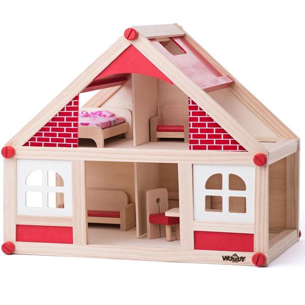 Kućica za lutke drvena sa dodacima Woody 91328 - ODDO igračke
