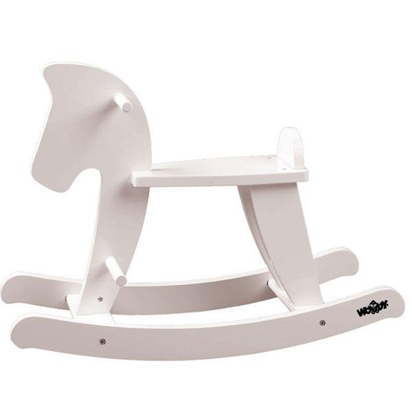 Klackalica Konjić drveni bele boje Woody 91835 - ODDO igračke