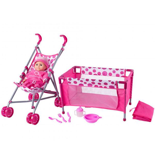 Kolica za lutke i krevetac Woody 91857 - ODDO igračke