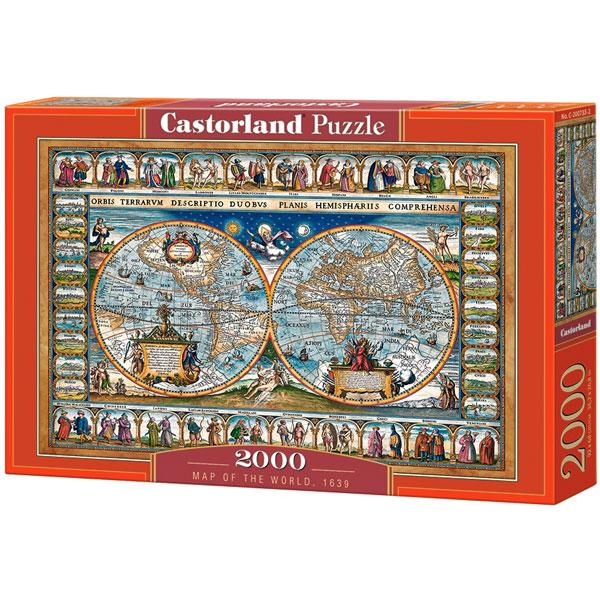 Castorland puzzla 2000 Pcs Map of The World 200733 - ODDO igračke