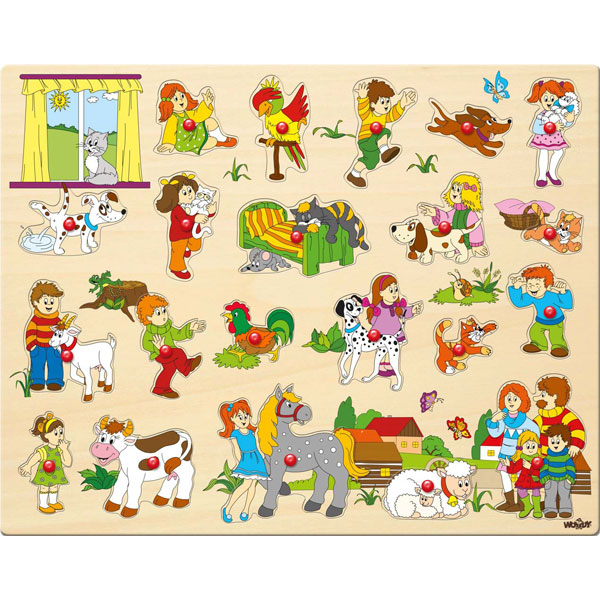 Drvene puzle Ljubimci Woody 91912 - ODDO igračke