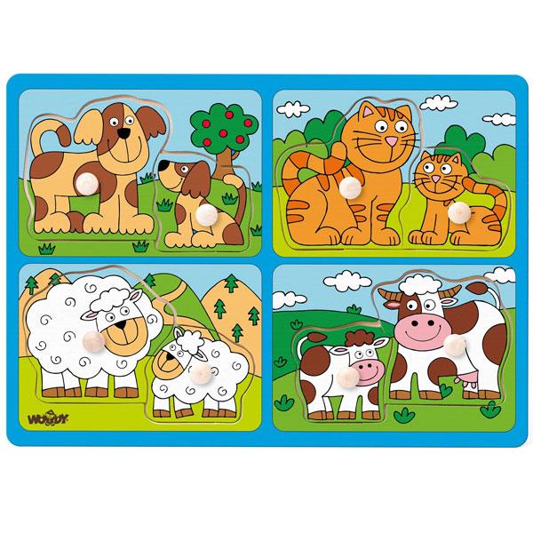 Drvene puzle Životinje I njihovi mladi Woody 91913 - ODDO igračke