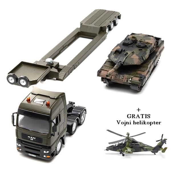 Vojni transporter sa tenkom + gratis helikopter 8612gratis - ODDO igračke