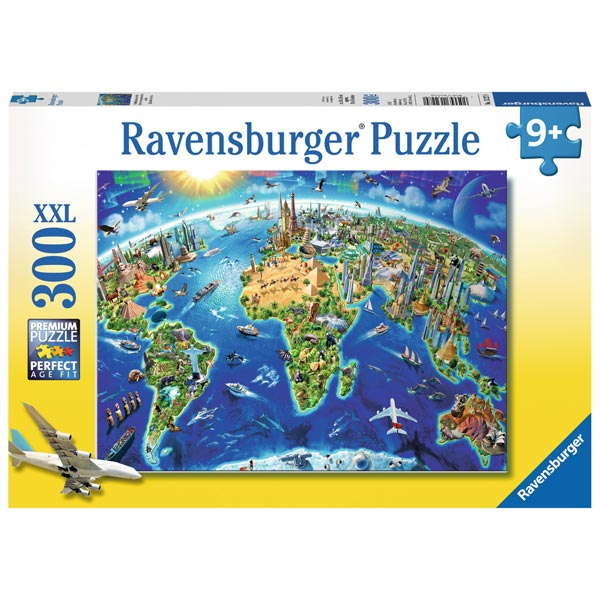 Ravensburger puzzle (slagalice) XXL 300pcs World Landmarks Map RA13227 - ODDO igračke