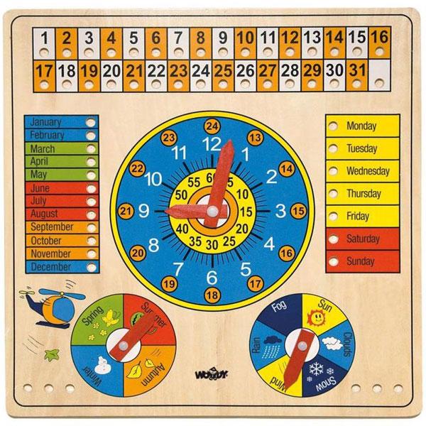 Drveni kalendar, sat, godišnja doba, dani u sedmici Woody 90659 - ODDO igračke