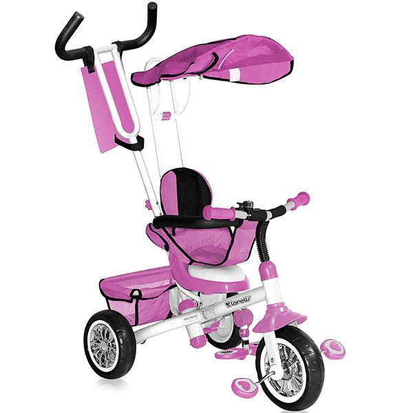 Tricikl sa ručkom i tendom B-30-1b pink/white 10050101603 - ODDO igračke