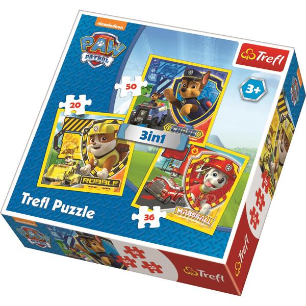 Trefl puzzla 3u1 Paw Patrol Marshall, Rubble and Chase 34839 - ODDO igračke