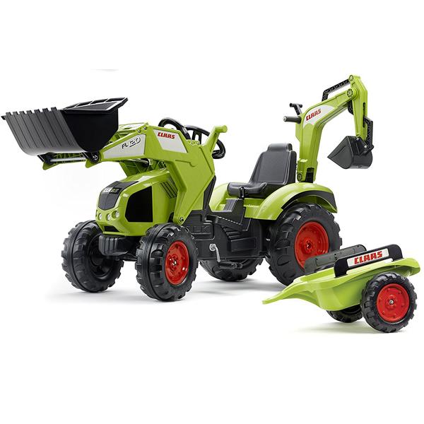 Traktor Falk na pedale sa prikolicom i kašikom Claas 1010y - ODDO igračke